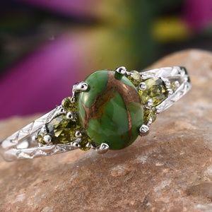 Mojave Green Turquoise, Simulated Peridot ring